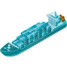 blue shipping boat icon