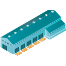 Tactical logistic solutions blue warehouse icon